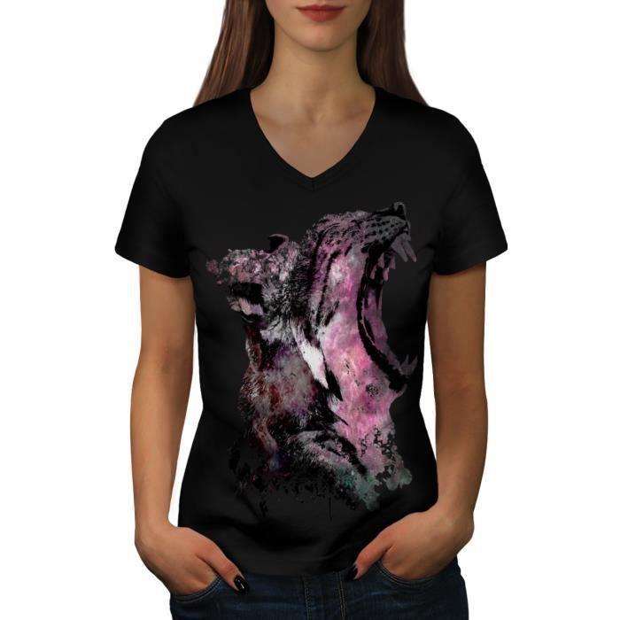 0c2be09988689 Léopard Bête Sauvage Animal Cosmique Mâchoire Women S-2XL T-shirt à  sonnerie | Wellcoda