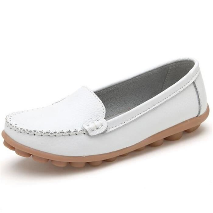 Mocassin Femmes ete Loafer Respirant Chaussures BSMG-XZ055Blanc39