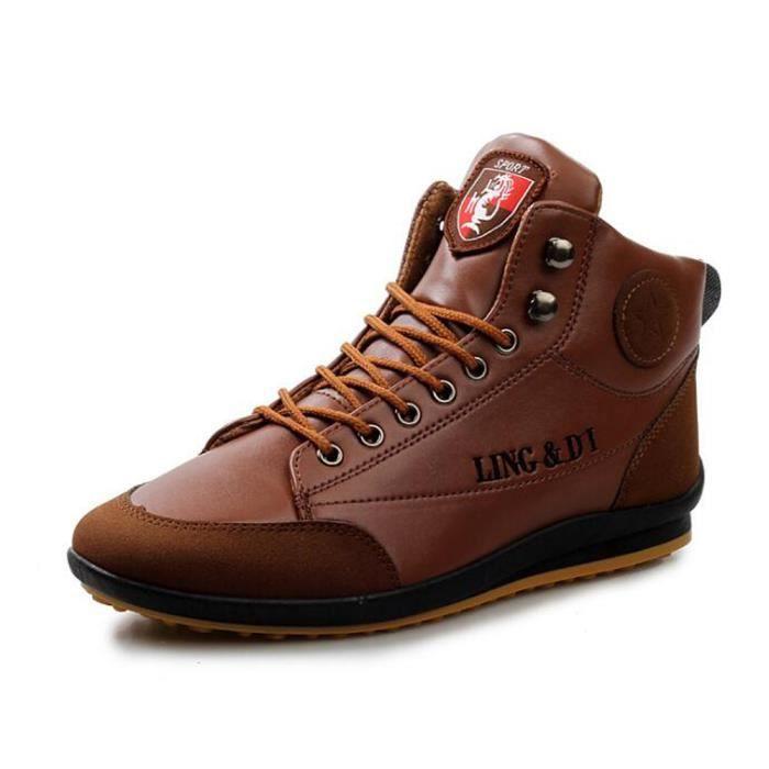 Basket montante homme cuir marron - Achat   Vente pas cher 86e414d45c7f