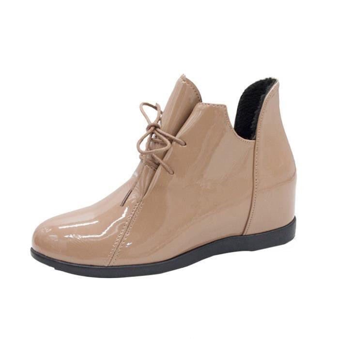 De plus Velvet Surélévation des femmes Bottes antidérapants Bottes Martin brevet Chaussures en cuir 2420