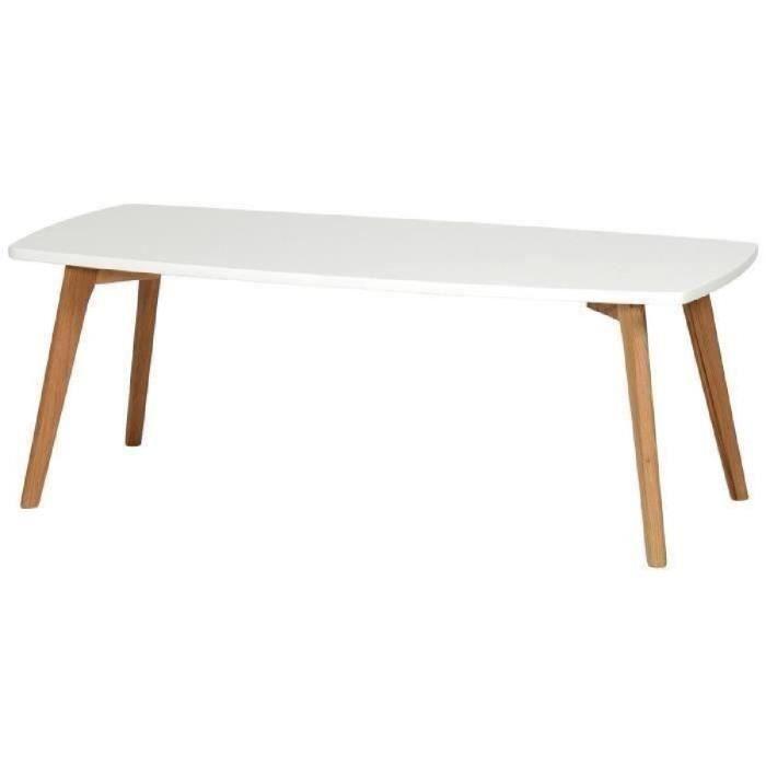 NORDIK Table basse scandinave blanc laqué avec cadre métal blanc ...