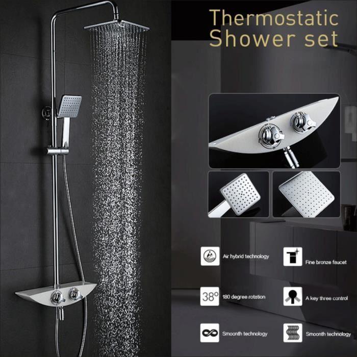 Système de Douche Kit colonne de douche Chromée Carrée Salle de ...