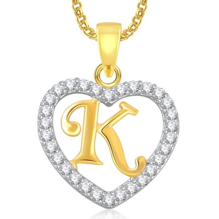 Womens Gold Plated k Letter Heart Pendant Locket Alphabet With Chain In American Diamond Cz ForDZCUQ