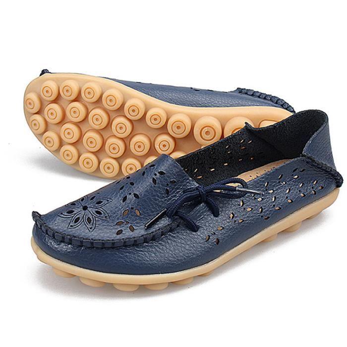 Mocassin Femmes Printemps Ete Mode Classique Plat Chaussure BLKG-XZ086Bleu34
