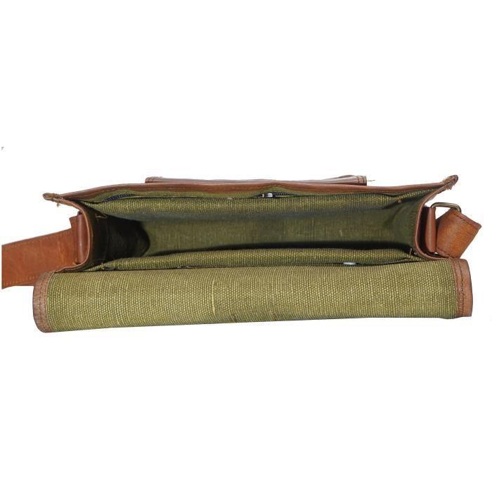 100% Handcrafted unisexe Véritable épaule avant de poche en cuir Messenger Sac Taille Homme (l) 11 (h) 9 X9JPD