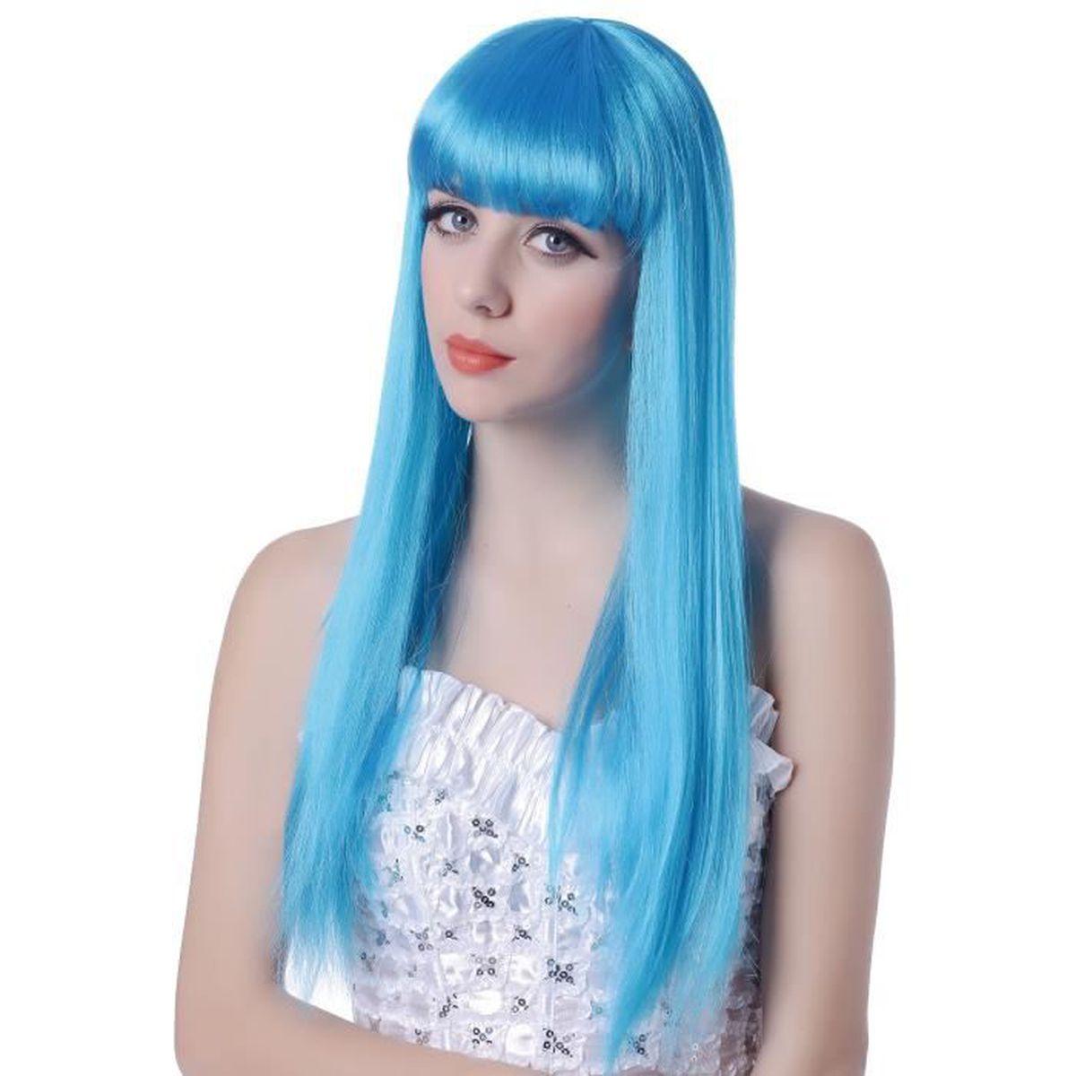 Perruque bleue longue à frange femme - Taille