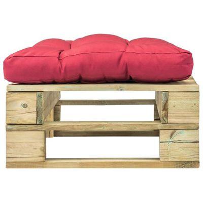 Repose-pied de jardin vert en bois avec coussin rouge pour Salon de ...