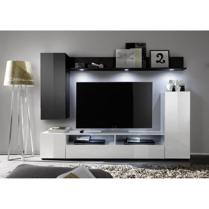 Dos Meuble Tv Mural Avec clairage Led Cm Noir Et Blanc Brillant