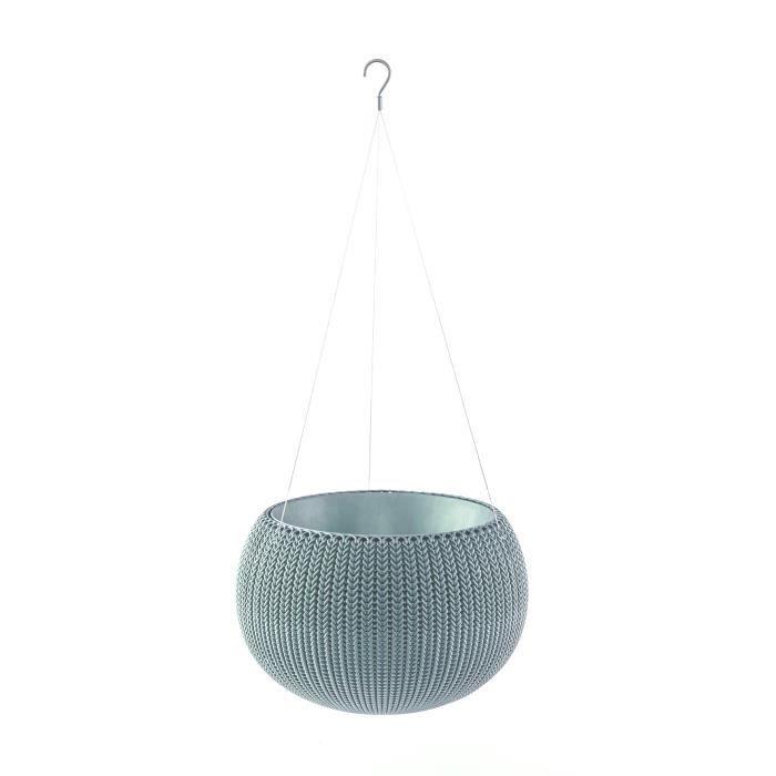 Pot de fleur aspect tricot avec suspensions 36cm bleu gris
