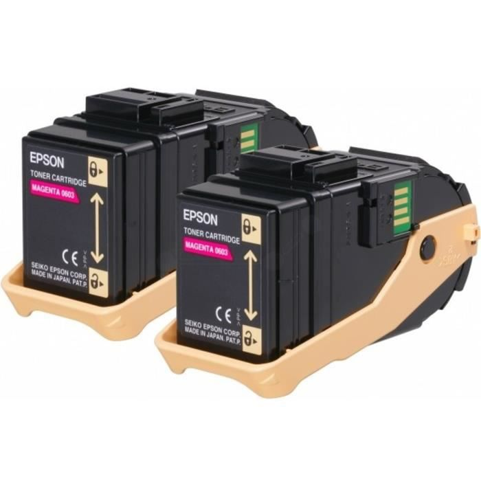 EPSON Pack de 2 Cartouches de toner AL-C9300N - Magenta - 2 x 7500 pages