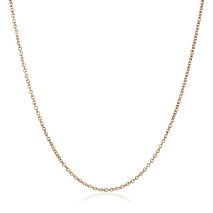14k Rose Gold Italian Rolo 1mm Chain Necklace, 16 SIVPG