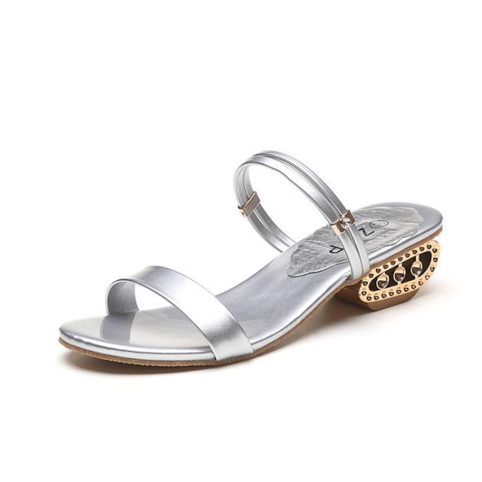 2017 Femmes été mi-talon Sandales Peep Toe Rhinestone chaussure Sandales Casual Chunky chaussures couleur argent taille 40