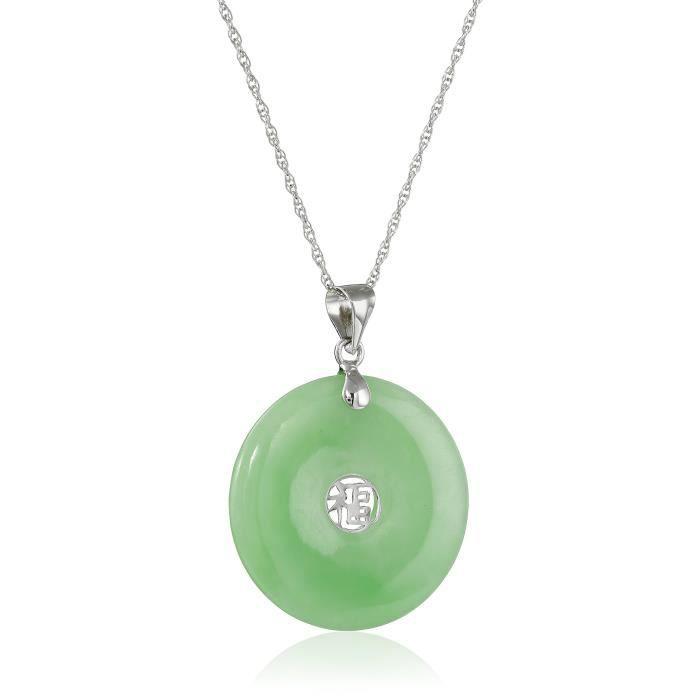 Jewel Panda Ster Rhodium plaqué. Argent Jade Donut Avec collier pendentif Script Center asiatique