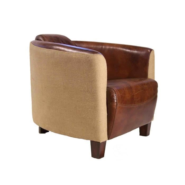 fauteuil club bounty cuir marron et toile de jute achat vente fauteuil marron cdiscount. Black Bedroom Furniture Sets. Home Design Ideas