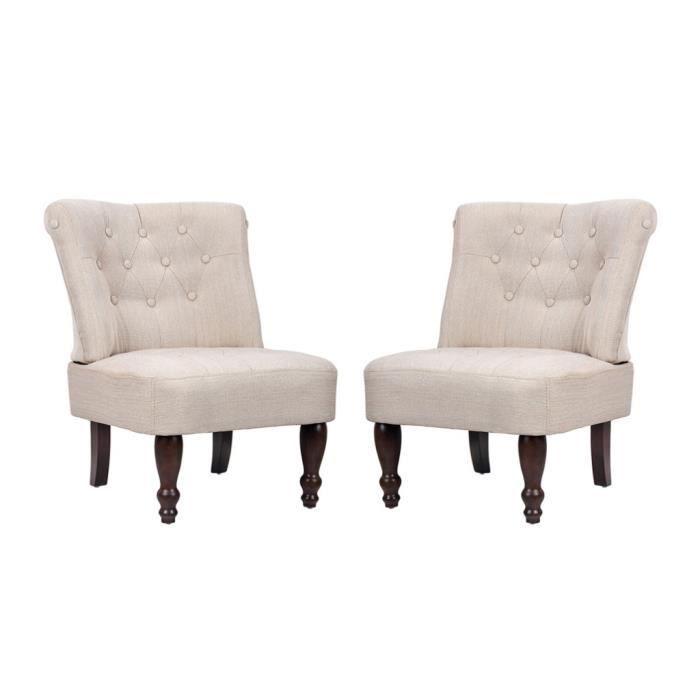 Lot de 2 fauteuils de salon beige clair - - Achat / Vente fauteuil ...