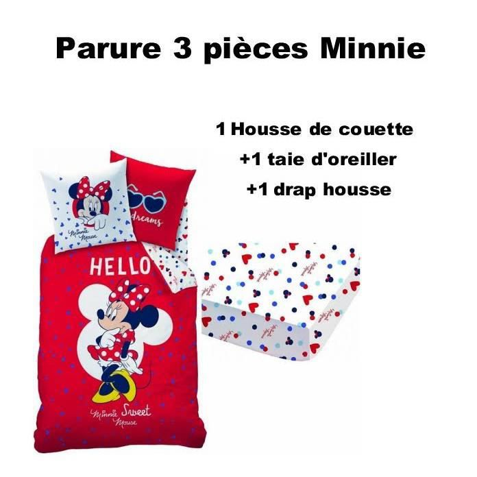 Minnie parure de lit 3 pi ces housse de couette rouge for Housse de couette et drap housse