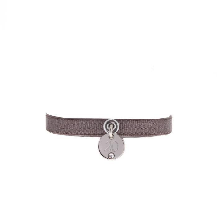Bracelet LES INTERCHANGEABLES en Laiton, Cristal Blanc et Satin - A39830