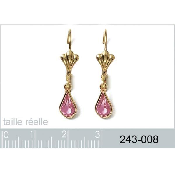 Boucles doreilles pendante plaqué or cristal rose