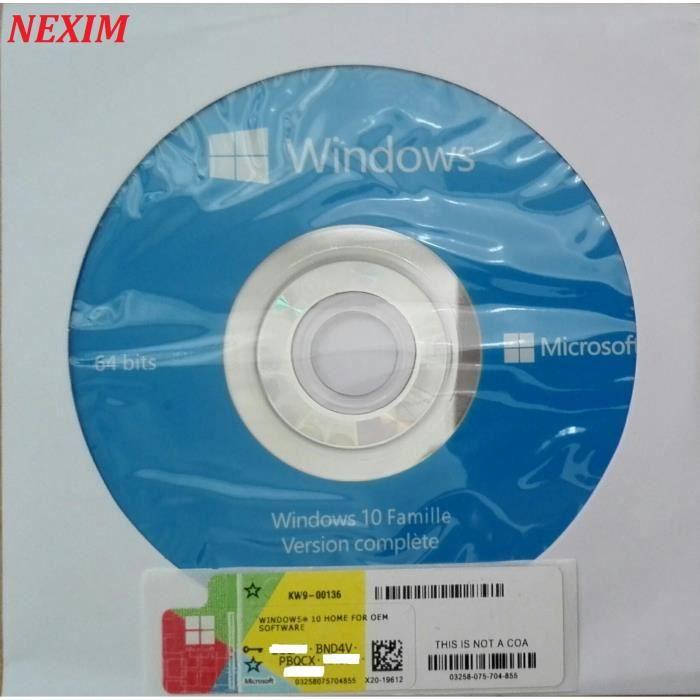 SYSTÈME D'EXPLOITATION Windows10 Home - 64-bit  OEM Coa+DVD