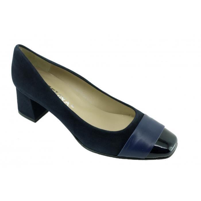 ISABELLE - Escarpins bout vernis talon carré marque Angelina chaussures Femme petites pointures tailles cuir bleu marine LHjk0J