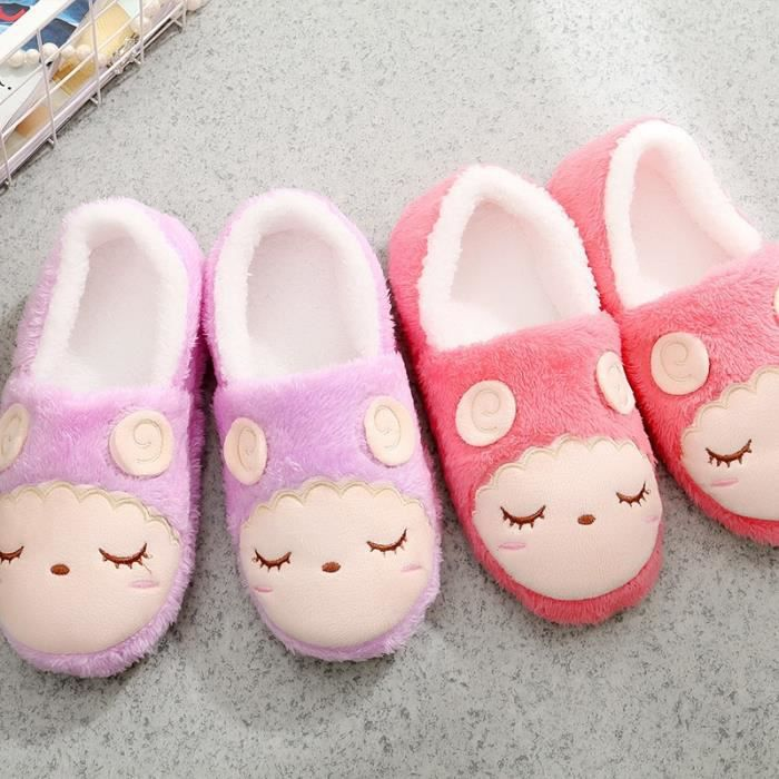 Beau cachemire Bottes coton Automne - hiver intérieur Chaussures Lune Skid souple Bas Coton Pantoufles Femmes & # 39; Chaussures