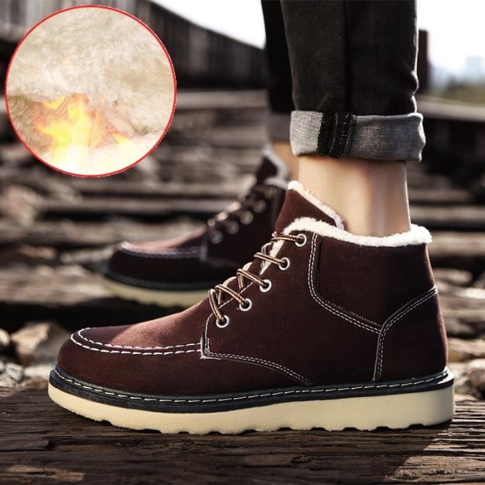 Botte Des Neiges 2018 Nouvelle Arrivee Haut qualité Confortable Antidérapant Chaussure Couleur gris marron noir Grande Taille 39-44