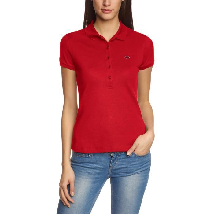 Achat Courtes Fit Lacoste Skinny Fafxwaqxp Femme Manches Polo Rouge MGqSUVpz