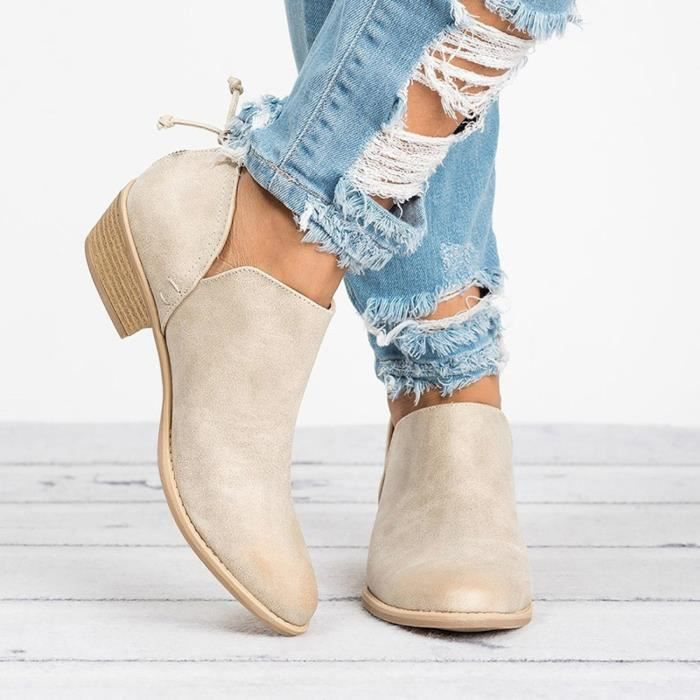 Cuir Jeffrey®femmes Cheville Dames Solide Courtes Bottes D'automne Martin Mode En beige Chaussures FwYUrqF