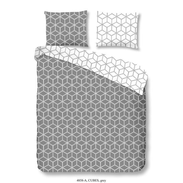 good morning parure de couette cubes 100 coton 1 housse de couette 200x200 cm 2 taies d. Black Bedroom Furniture Sets. Home Design Ideas