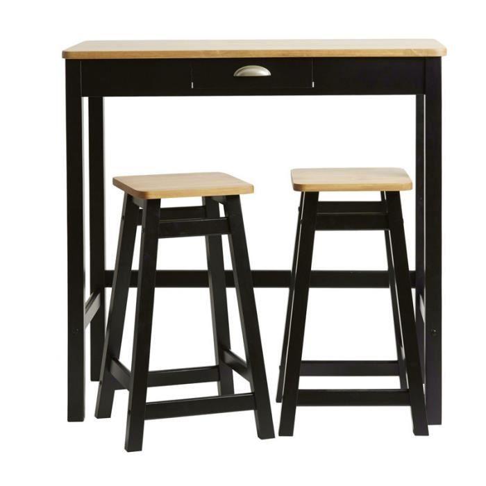 Table Haute 2 Tabourets Noir Bois Izat L 90 X L 45 X H 90