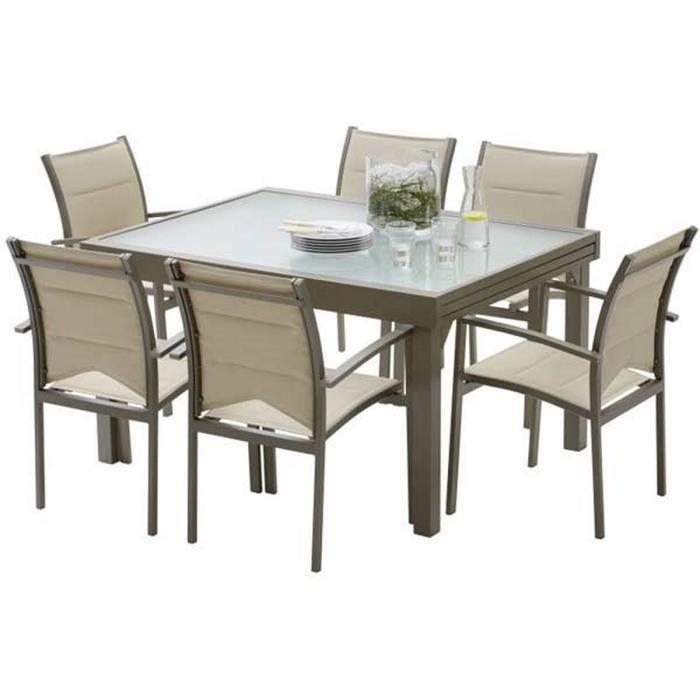 Ensemble table et chaises de jardin MODULO 6 PLACES TAUPE - Achat ...
