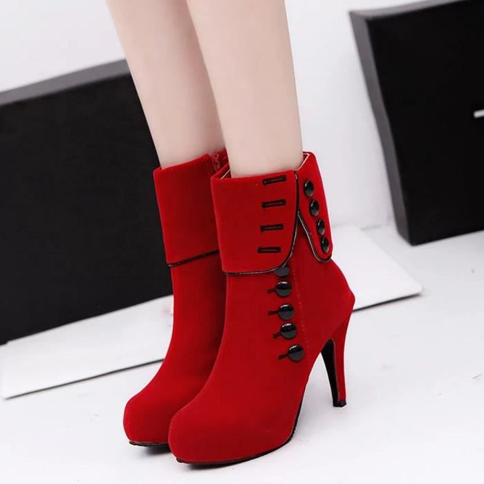 Plateforme Rouge Hiver Bottes Chaussures Wy5238 Deessesale Talons Mode femmes Bottines Boucle wR8x4WfZq