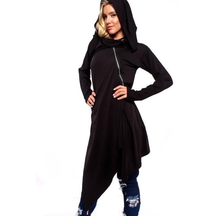 Chemisier Manches Zip En Longues Top Overzise Noir Sweats À Capuche Femmes Veste Vrac Couvrante Shirt 5nxO15wq