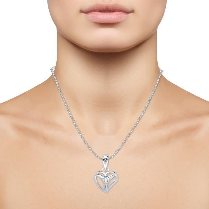 Womens Vina Jewels Valentine Divine Heart Shape Rhodium Plated Pendant - P1213r [vkp1213r] [jewell YJQFX