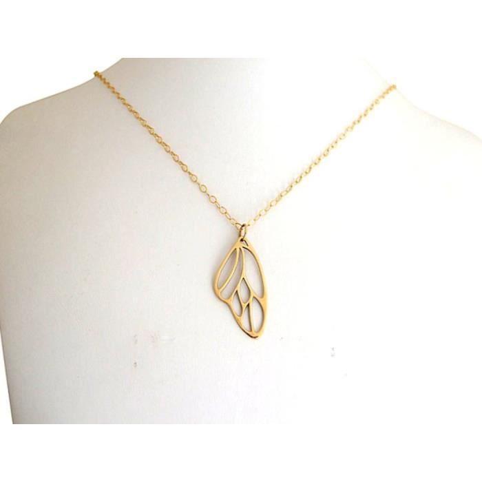 Gemshine - Femmes - Collier - Pendentif - ailes de papillon - - 4 cm dor