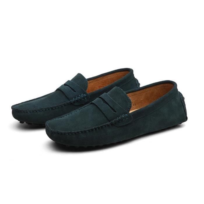 Mocassins Hommes Cuir Ultra Comfortable Appartements Chaussures LKG-XZ071Vert43