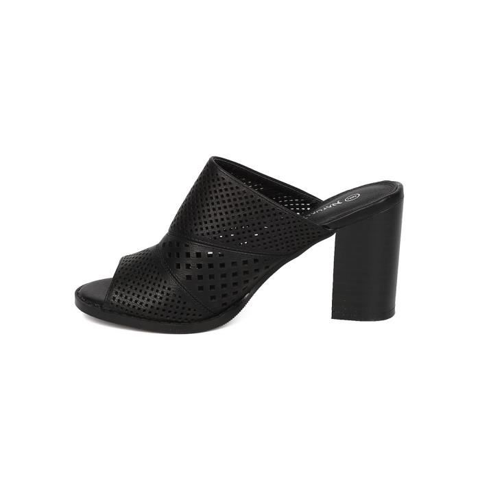 Leatherette Chunky Heel Mule - Casual, Dressy, Versatile - Perforated Sandal - Gf53 Q9JMO Taille-38 1-2