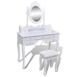 COIFFEUSE Coiffeuse avec miroir et tabouret 7 tiroirs Blanc