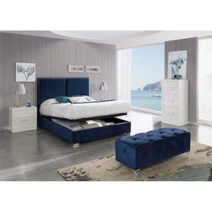 LIT COMPLET Lit coffre KINLEY 180x200cm en velours bleu marine
