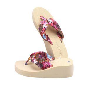 chausson femmes Fleurs Bohême Mode Pantoufles Plate-Forme Haut qualité Femmes Chaussures Confortable D'été Plage tong 0cBmZeyywK
