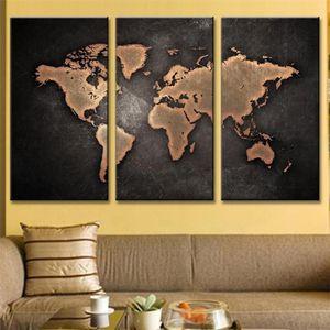 TABLEAU - TOILE 3Pcs World Map Toile Tableau Home Décor Peinture à