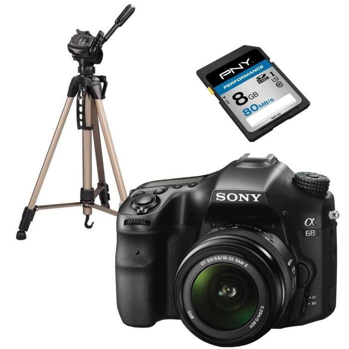 SONY ILCA68K Appareil photo numérique Reflex 24 mégapixels avec objectif 18-55 mm + PNY Performance Carte mémoire SDHC 8 Go + HAMA S