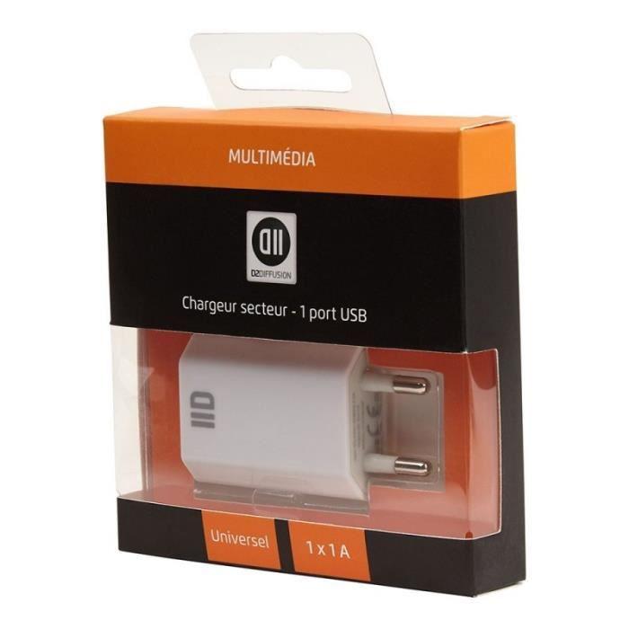 D2 Chargeur secteur USB 1 port - Blanc