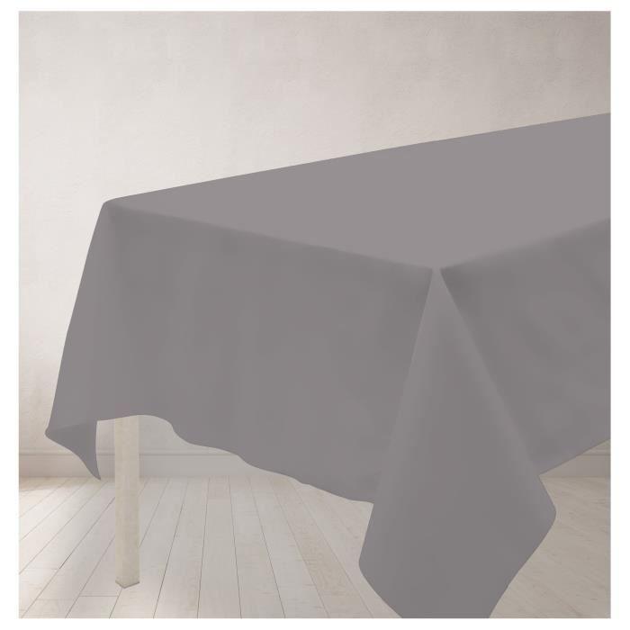 SOLEIL D'OCRE Nappe anti-tâches rectangle 140x240cm ALIX Grise