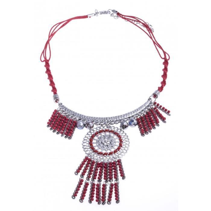 Collier fantaisie - métal argenté - perles roues - 40+8cm Multicolore