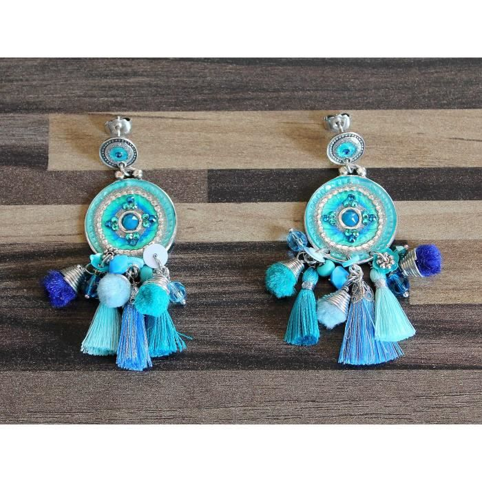 Boucles doreilles Gas Bijoux Stella Bleu Turquoise sur tige