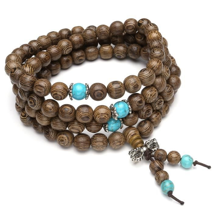 BRACELET , GOURMETTE Bracelet Bouddhiste Tibétain Perles en Bois Nature