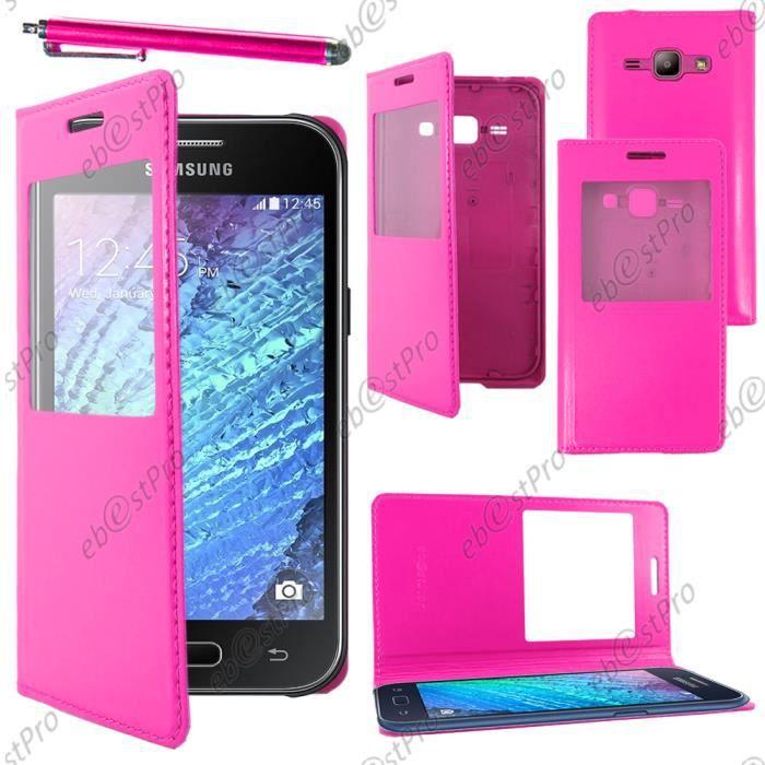 ebestStar® Coque view Samsung Galaxy J1 SM-J100F J1 4G, Rose +Stylet +Film