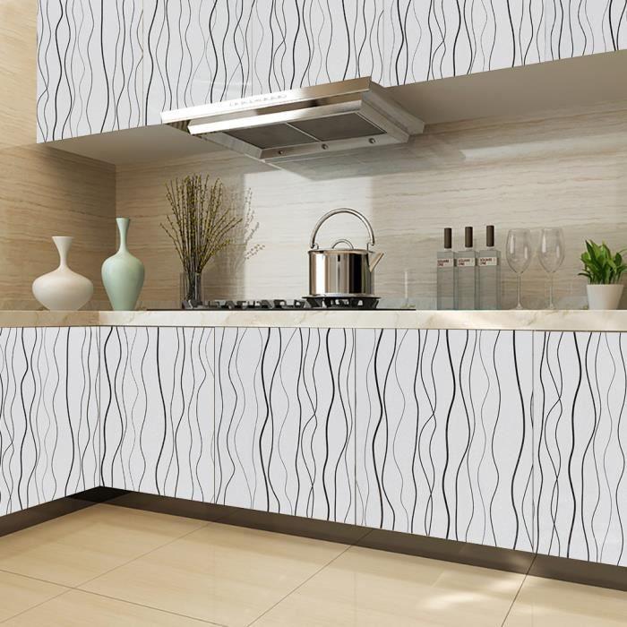 kinlo 5m papier peint rayure gris auto adh sif. Black Bedroom Furniture Sets. Home Design Ideas