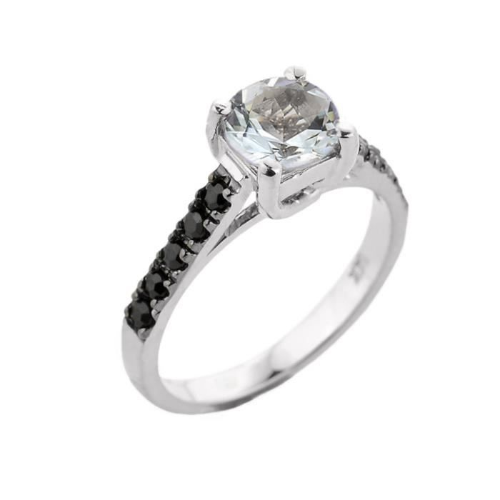 Bague Femme 10 ct Or Blanc 471/1000 Aquamarine et Noir Diamant Solitaire